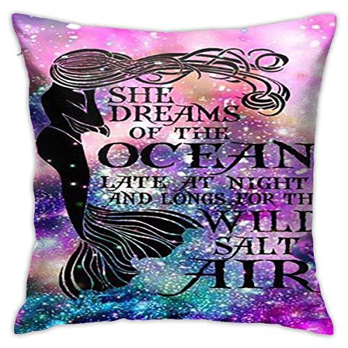 Sabalone Ariel Sirena Princesa de Disney Almohada de algodón Funda de cojín Funda 18X18 Pulgadas decoración del hogar