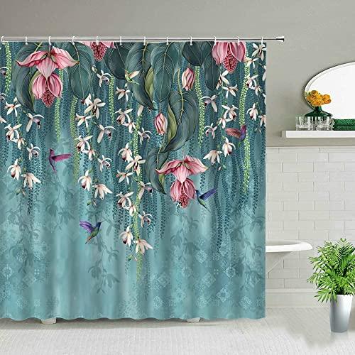 Tenda da doccia con fiori di paesaggio elegante moderno chic rosa girasole cactus fiore tenda da doccia decorazione della casa S.2 90x180cm