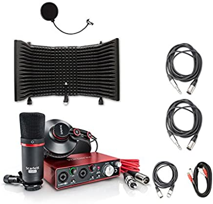 Protools Focusrite Scarlett 2i2 USB Audio Recording Interface Studio Pack 2nd Gen Cables and AxcessAbles Microphone Isolation Shield Headphones Microphone