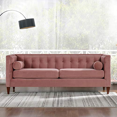 Jennifer Taylor Home Jack Collection Modern Hand Tufted Upholstered Sofa With 2 Bolster Pillows and Hand Finish Legs, Ash Rose