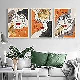 Póster de arte de pared 3 piezas 60x80 cm sin marco abstracto cara de niña línea de pan de oro póster e impresión decorativa imagen de arte de pared decoración de la pared del hogar moderno