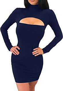 4d188c944f8 Haola Women s Long Sleeve Cut Out Front Sexy Club Bodycon Dress Party Mini  Bandage Dress
