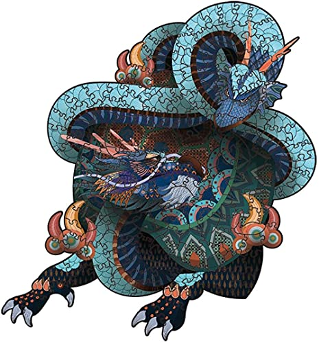 LONGJIQ Arte Creativo Puzzle de Madera Antiguo Bestia mítica Irregular 3D Jigsaw Puzzle Juegos Adultos Montaje Montaje Forma Animal Puzzles Juguete-L Fantastic