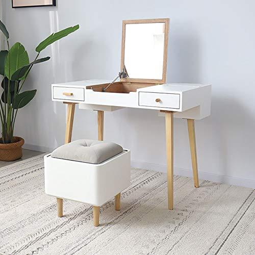 Liuxiaomiao Toaletka z litego drewna do makijażu toaletka z otwieranym lustrem i 2 szufladami 2 kolory do sypialni damskiej (kolor: Biały, rozmiar: 100 x 55 x 75 cm)