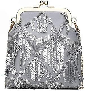 TOOGOO Women'S Clip Small Bag Pu Leather Retro Handbag Summer Simple Women'S Fashion Casual Shoulder Messenger Bag Gray