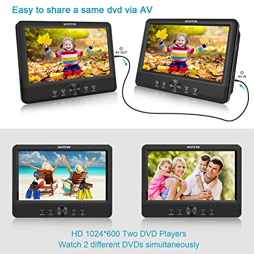 WONNIE 10.5 'Dual Portable DVD Player for Car Twins CD Players Play the same or two different films with a 5-hour battery, 2 brackets and USB / SD card reader (2 X DVD players).