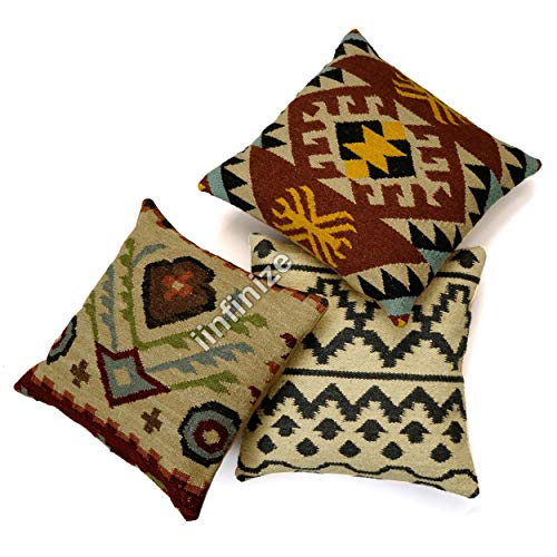 iinfinize Diwali Festival Cushion Cover 18x18'' wool Jute Bed Side Tassel Pillow Shaggy Hand Knotted Bed Rest Cushion Cover Jute Sofa Sham (Beige 1)