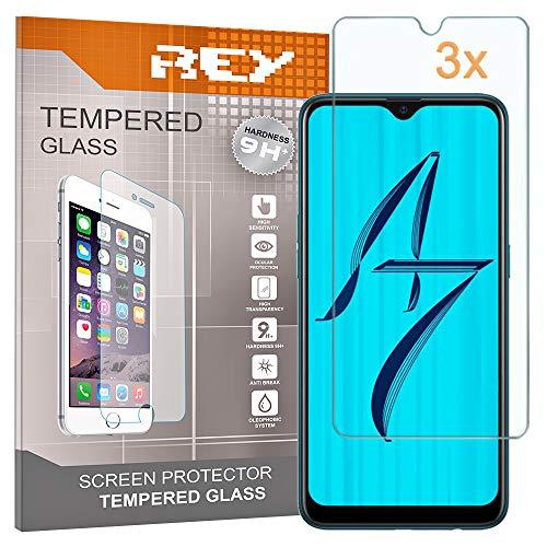 REY 3X Protector de Pantalla para OPPO A7 / OPPO AX7, Cristal Vidrio Templado Premium
