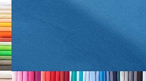1buy3 Tissu de côtes Jersey XXL au mètre|Double : 75cm de Largeur|Simple : 150cm de Largeur|Couleur : 39 Bleu Azur|0,75m de Longueur|96% Coton, 4% élasthanne|Plus de 50 Coloris au Choix|Jersey