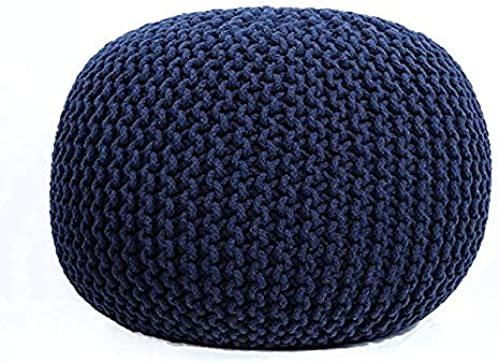 NISHOMES Footstools Pouffes Ottomans for Living Room Sitting Round Ottoman Bean Filled Stool for Foot Rest Home Furniture Rope Twisted Bean Bag Design 14 inch Height 1Pc Navy