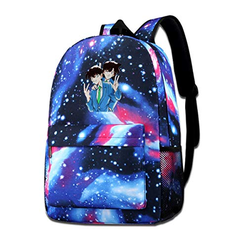 Qmad Youth Detective Conan Your Best Friend Starry Sky Background Comfortable Polyester Backpacks For Business Travel