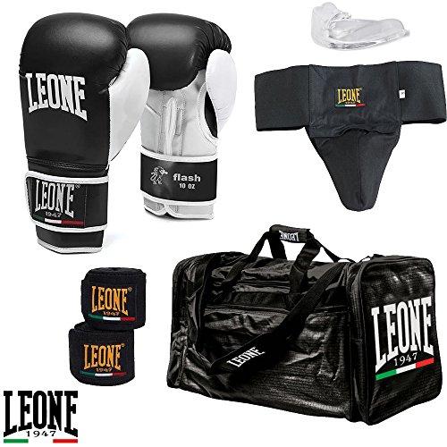 Kit Boxe/Kick Boxing Beginner Leone 1947: Guantoni + Fasce + Conchiglia + Paradenti + Borsone da Palestra