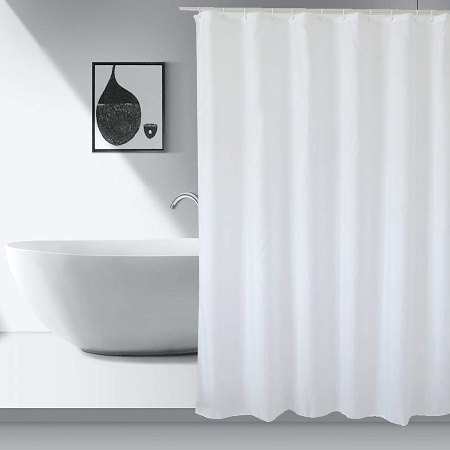 平和な登録するサーバAooYo シャワーカーテン 90 x 180cm おしゃれ 防水 防カビ加工 浴室カーテン 無地 白 ポリエステル 北欧 目隠し用 厚手 取り付け簡単 風呂カーテン 間仕切り バスルーム カーテン 0.9メートル リング付属 シンプル ホワイト