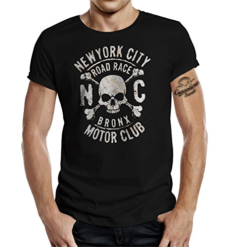 Biker T-Shirt Racer Hot Rod Design: New York Bronx MC XL