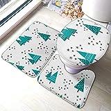 Juego de 3 piezas de alfombra de baño para inodoro en forma de U, diseño de árbol de Navidad