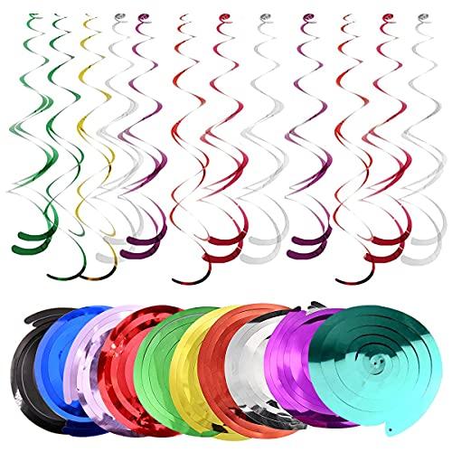 Serpentinas Cumpleaños Fiesta, DBAILY 60pcs Colgantes Decoraciones Remolino Multicolor Adornos de Espirales para Boda Baby Shower Navidad Niños Suministros Bebés(10 Colores)