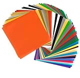 Adhesive Vinyl Sheets, 55 Pack of 12 x 12 in 37 Assorted Colors (Glossy, Matte), Premium Outdoor Permanent Self Adhesive Vinyl Sheets for Cricut, Silhouette Cameo Printer, Craft Cutter, Decal, Signs