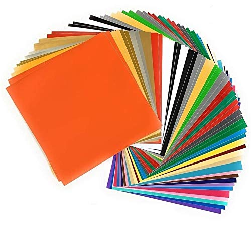 """American Deluxe Vinyl Craft, 55 Sheets 12""""x12"""" in 37 Assorted Colors, Glossy, Matte Outdoor Permanent Self Adhesive Vinyl Sheet for Cricut, Silhouette Cameo Printer, Vinyl Cutting Machine, Car, Decal"""