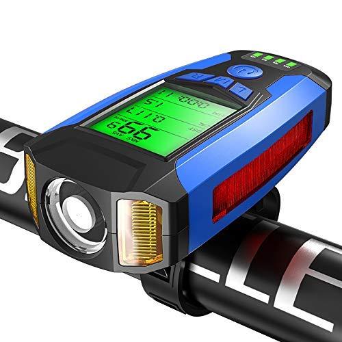 DZX Fahrrad Frontlicht mit Fahrrad Computer Fahrrad Horn MTB Riding Fahrrad Licht Fahrrad Computer Tachometer Kilometerzähler Stoppuhr Radfahren