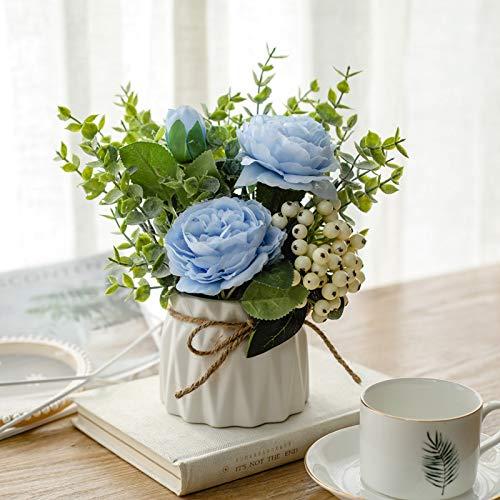 NAWEIDA Sztuczne kwiaty z małym wazonem ceramicznym jedwabne róże sztuczne rośliny liście eukaliptusa jagody aranżacje kwiatowe dekoracje do domu (niebieski)