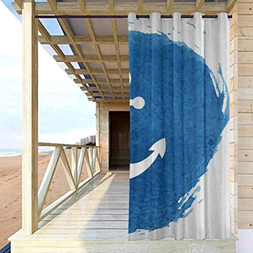 crabee Anchor Home Fashions Curtain Thermal Insulated Room Darkening Curtains Anchor Icon with Watercolors Effect Deep Down Sea Stay Calm and Firm Artwork Print Blue White