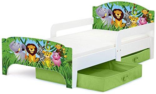 Leomark Smart letto per bambini in legno, lettino con cassetto cassettone e materasso 140x70cm, magnifiche stampe, mobili per bambini, attrezzatura stanza per bambino, tema: ZOO ANIMALI