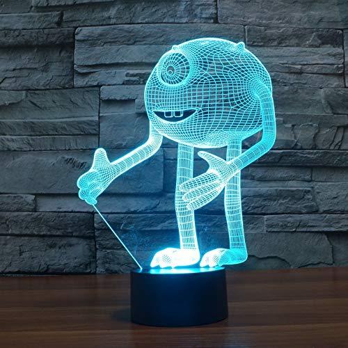 Monstre borgne Acrylique 3D Illusion d'optique Veilleuse, Veilleuse LED, Monsters, Inc. Décoration de la maison pour cadeau pour enfants