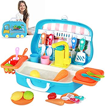 RegeMoudal Kitchen Sink Toys Set with Running Water