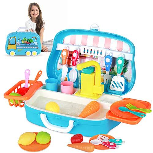 RegeMoudal Kitchen Sink Toys Children Play Dishwasher Kitchen Toys Set with Running Water ,Kids Play Electric Dishwasher Sink Toy,Automatic Water Circulation System Pretend Play Toys for Kids