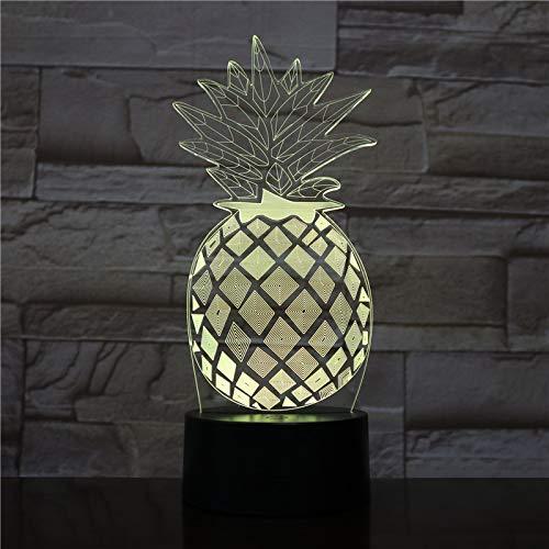 Ananas 3D-nachtlampje, ledverlichting, met 7 kleuren en afstandsbediening, voor verjaardagen en kerstcadeaus voor kinderen, nachttafellampje, slaapkamerdecoratie