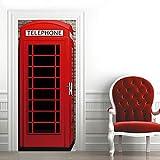 3D Etiqueta de Puerta Cabina de Teléfono Pública Roja Autoadhesiva Extraíble de Diy Murales Pegatinas de Pared 77X200CM,decoración de Hogar Arte Moderno Vinilos Puerta Pegatina