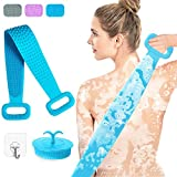 Silicone Back Scrubber for Shower, 30' Extra Long Double Sided Bath Body Scrubber with Hair Scalp Brush, Deep Clean & Exfoliating Improve Back Acne, Comfortable Massage for Men and Women (Blue)