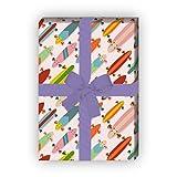 Kartenkaufrausch Modernes Skater Geschenkpapier Set mit bunten Skateboards für tolle Geschenk...
