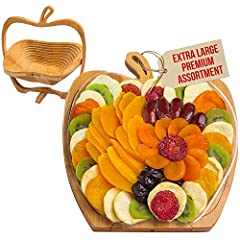 🍎 Delicious dried fruit Gift Tray comes on foldable Wooden Fruit Bowl 🍎 Holds a variety of exotic mango slices, Mediterranean apricots, luscious California yellow peaches, mouth-watering pears, Washington apple wedges, and yummy California dates, tan...