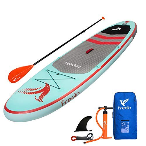 Freein Stand Up Inflatable Paddleboard - SUP 10' Long, 33' Wide, 6' Thick - Floating Paddle, Backpack, Leash, Pump