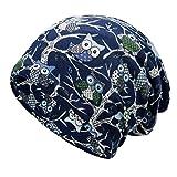 linjunddd Beanie Sombrero De La Bufanda del Estiramiento Suave Algodón Slouchy Cap Pullover Exterior para Set Escalada Hombres De Las Mujeres Azules del Arroz