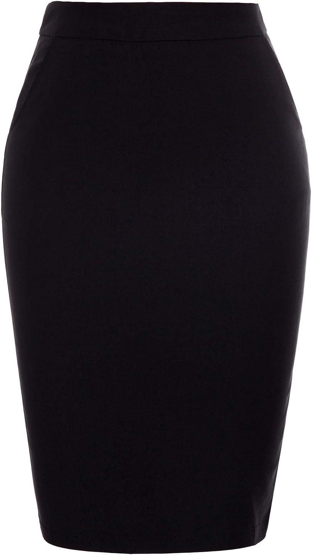 Kate Kasin Womens Knee Length Elastic Waist Stretchy Bodycon Business Pencil Skirt