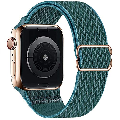 GBPOOT Compatibile con Cinturino Nylon solo loop per Apple Watch 38mm 40mm 42mm 44mm, Cinturino di Ricambio Lo Sport in Elastico in Nylon per Iwatch 6/SE/5/4/3/2/1,Verde aghi di pino,42/44mm
