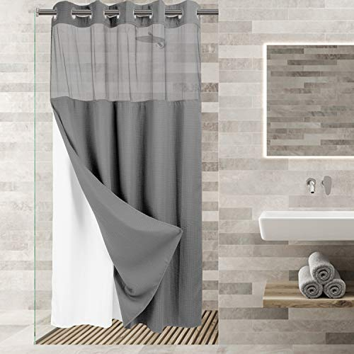 """River Dream Stall Size No Hooks Required Waffle Weave Shower Curtain with Snap in Liner (Gray, Stall 54""""x80"""")"""