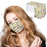 【USA Stock】 Disposable Facemask Individually Wrapped - 50 Pack, Flower Print Face_Masks - 3 Ply