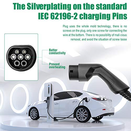 LEFANEV Ladestation für Elektrofahrzeuge (EV) mit 32 Ampere Großes Display und EU Stecker Typ 2 (IEC 62196-2) EVSE, 20-Fuß-Kabel, Innen/Außenbereich (White) - 5