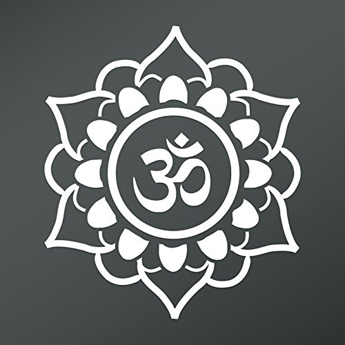 CMI DD807 OM Symbol Flower Decal Sticker | 5.5-Inches by 4.8-Inches | Meditation Conciousness Religious Motivational Inspirational | Premium Quality White Vinyl