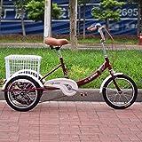 ZJZ Triciclo Adulto de la Bici de 3 Ruedas, Bici de Las Bicicletas de Tres Ruedas para la recreación, Compras, Ejercicio