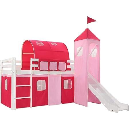 vidaXL Pin Lit Mezzanine d'enfants avec Toboggan et Echelle avec Sommier à Lattes Lit pour Tout Petits Fille Chambre à Coucher Maison Intérieur Rose