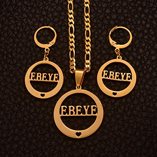 NCDFH Name Gold Color t Necklaces and Earrings Sets for Women Metal Jewelry Gifts/Can t Change Name #J0042 45cm by 3mm Chain