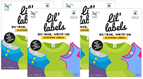 Lil' Labels Clothing Labels, Write On Name, No Iron, Washer and Dryer Safe, Kids Label for Daycare and School, Set of 4