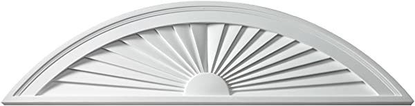 Fypon SWDH80X15 80 W X 15 H X 1 3 4 P Sunburst Window Pediment Segment