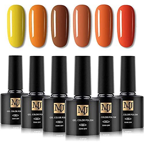 Yelna Nail Polish Set, 6 Colors 0.33 ounce/bottle, Gold Yellow Orange Summer Color Vegan UV LED Gel Nail Polish, Gel Nail Kit for Salon, Halloween