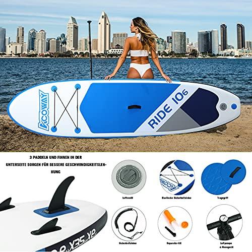 ACOWAY Aufblasbares SUP Board blau, 320 x 81.5 x 15 cm - 4