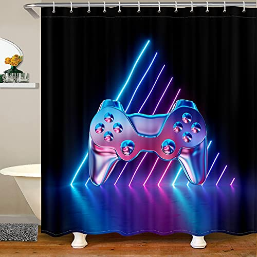 Teens Gaming Bathroom Curtain with 12 Hooks Suitss Video Games Shower Curtains Wireless Controller Bath Curtains for Kids Boys Girls Modern Gamer Bathroom Accessories, 72' W x 72' L